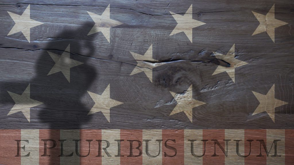Flag and motto symbolizing the American political spirit