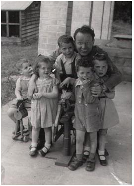 Anna Freud with children liberated from the concentration camp